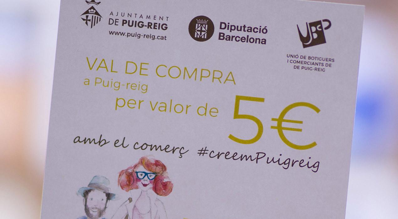 Puig-reig ofereix 30 euros en vals de descompte per al comerç de proximitat a les 1.807 famílies del poble