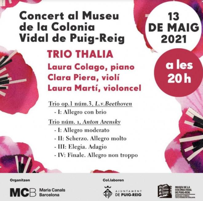 CONCERT Trio Thalia @ Museu de la Colònia Vidal (PUIG-REIG)