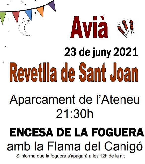Foc de Sant Joan a Avià 2021 @ Aparcament de l'Ateneu d'AVIÀ